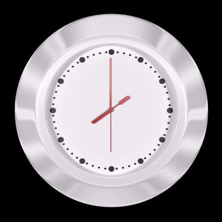 White clock 3d render isolated on black