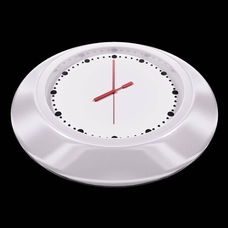 White clock 3d render isolated on black