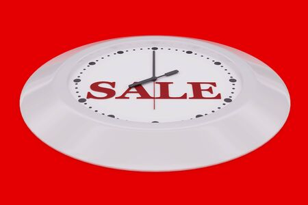 Red clock 3d render with sale isolated on black