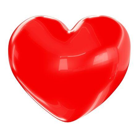 Red heart isolated on white background 3d render Standard-Bild