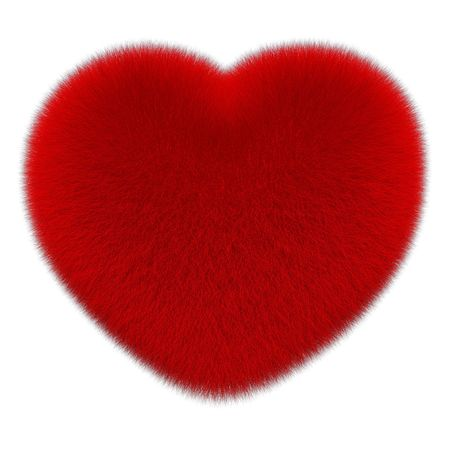 Red fur heart isolated on white background 3d render