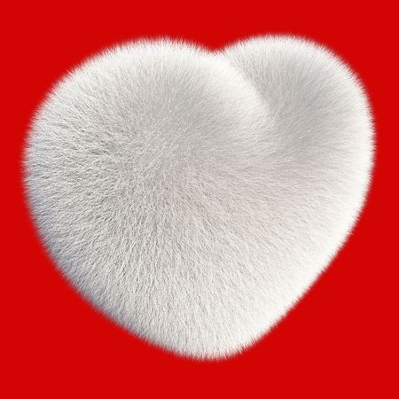 White fur heart isolated on white background 3d render