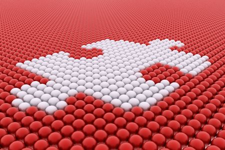 part time: White puzzle balls on red balls backround 3d render Stock Photo