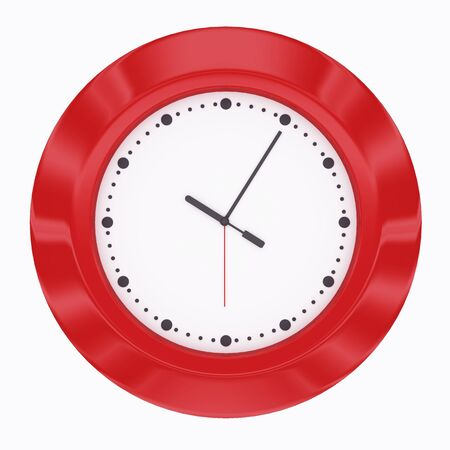 Red clock 3d render isolated on white photo