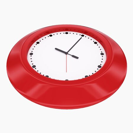 Red clock 3d render isolated on white