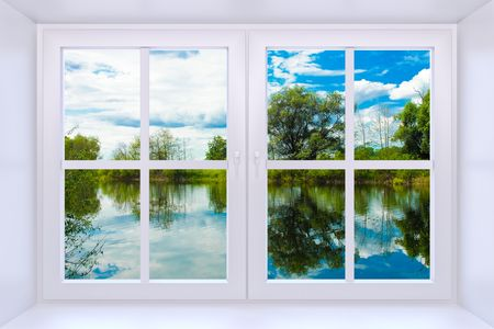 The nature behind a window 3d render with inserted photo photo