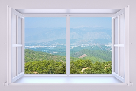 mountain view: The nature behind a window 3d render with inserted photo Stock Photo