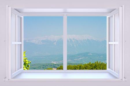 De aard achter een venster 3d render met ingevoegde foto Stockfoto