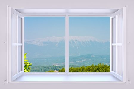 air view: The nature behind a window 3d render with inserted photo Stock Photo