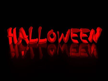 Inscription halloween on a black background 3d render