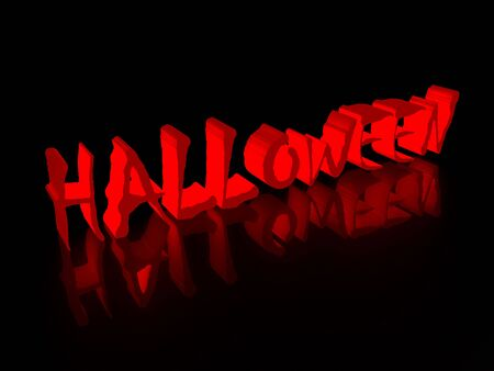 hallow: Inscription halloween on a black background 3d render