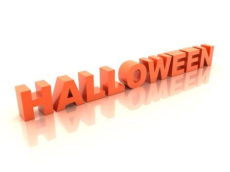 Orange halloween inscription on white 3d render