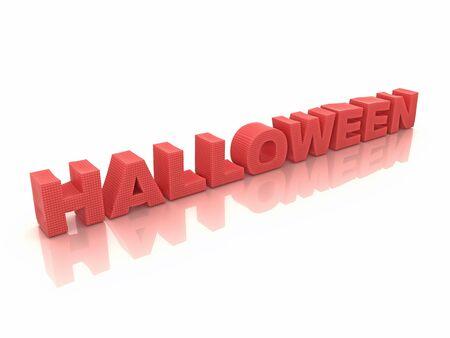 Red halloween inscription on white 3d render