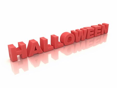 hallow: Red halloween inscription on white 3d render