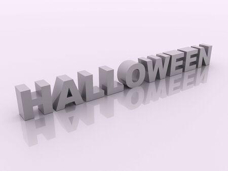 Gray halloween inscription on white 3d render