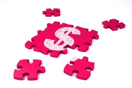 A dollar symbol maded by puzzle's pieces on white background