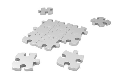 Puzzle pieces laying on white background