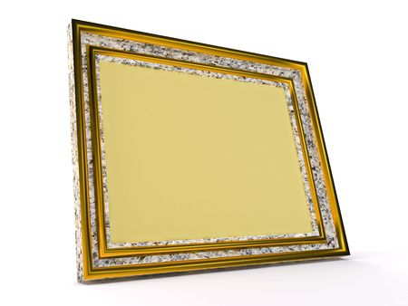 Yellow photoframe on white background Standard-Bild