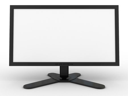 3d monitor rendered on white background photo