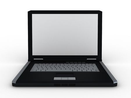 3d laptop rendered on white background