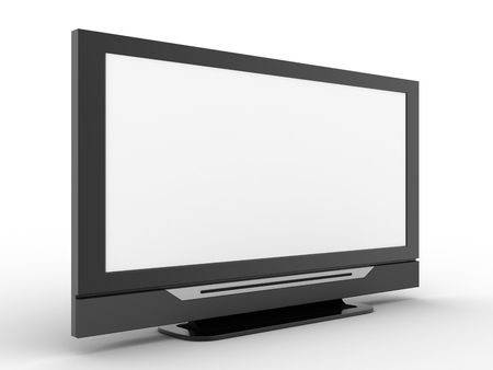 3d tv rendered on white background photo