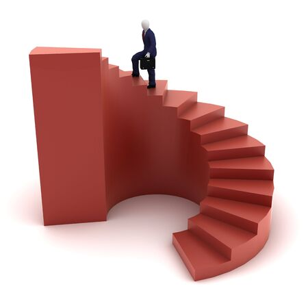 3d human model going to success on red spiral stairs Stock Photo - 5315835