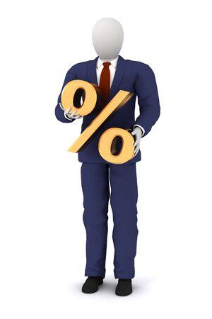3d human model holding a percent