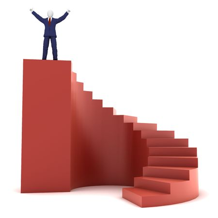 3d human model on success stairs Standard-Bild