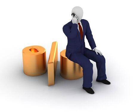 3d human model sitting on percent Standard-Bild
