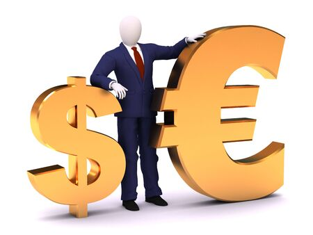 staying: 3d human model staying with dollar and euro