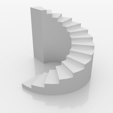 White spiral stairs to success 3d render Standard-Bild