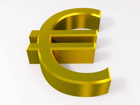 Golden euro symbol isolated on white 3d render Standard-Bild