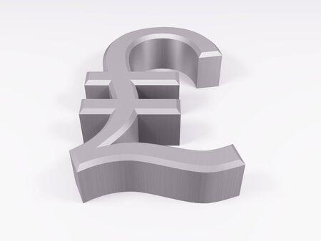 Silver lira symbol isolated on white 3d render Standard-Bild