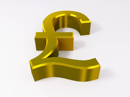 Golden pound symbol isolated on white 3d render