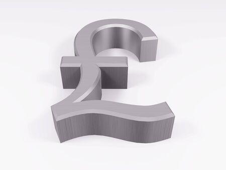Silver pound symbol isolated on white 3d render Standard-Bild