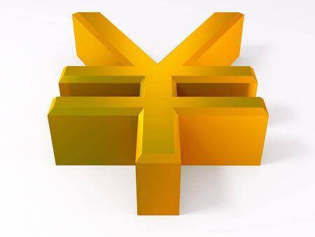 Golden yen symbol isolated on white 3d render