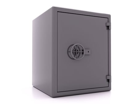 Closed metall safe on white background
