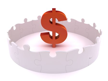 enclosed: Dollar symbol enclosed by white standing puzzles