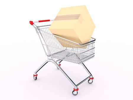 Hand cart with box on white background