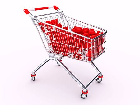Hand cart with discounts on white background