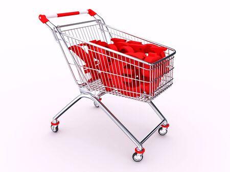 Hand cart with money symbols on white background photo
