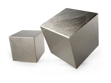 Metal cubes on white background