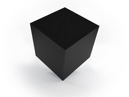 Granite cube on white background