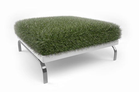Grass grown on a padded stool Standard-Bild