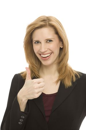 A businesswoman gestures a thumbs-up against a white background Stock Photo - 1229035