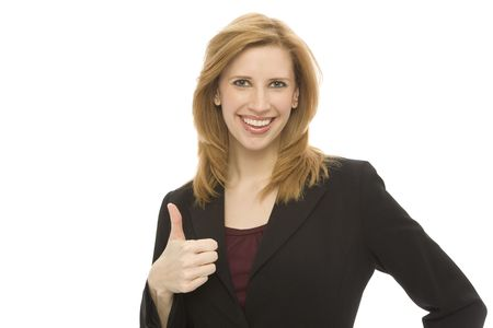 A businesswoman gestures a thumbs-up against a white background
