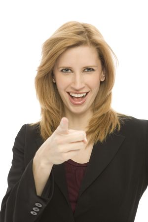 A businesswoman points with her finger in front of a white background Stock Photo - 1229038