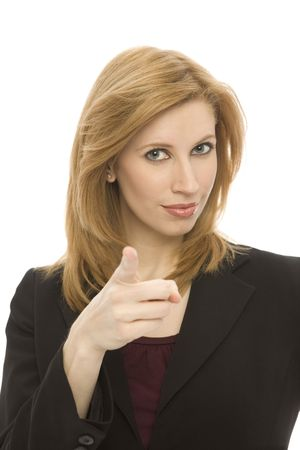 A businesswoman points with her finger in front of a white background Stock Photo - 1229039