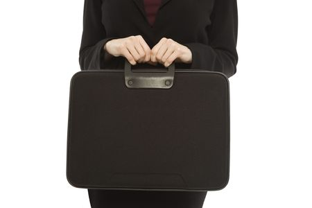 woman handle success: Businesswoman in a suit holds a black briefcase Stock Photo