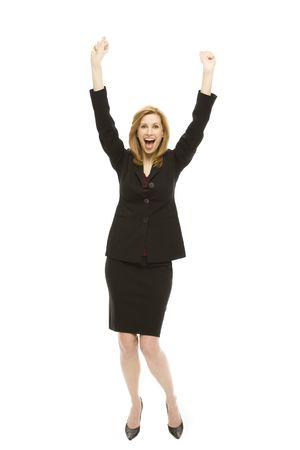 Businesswoman in a suit gestures excitement